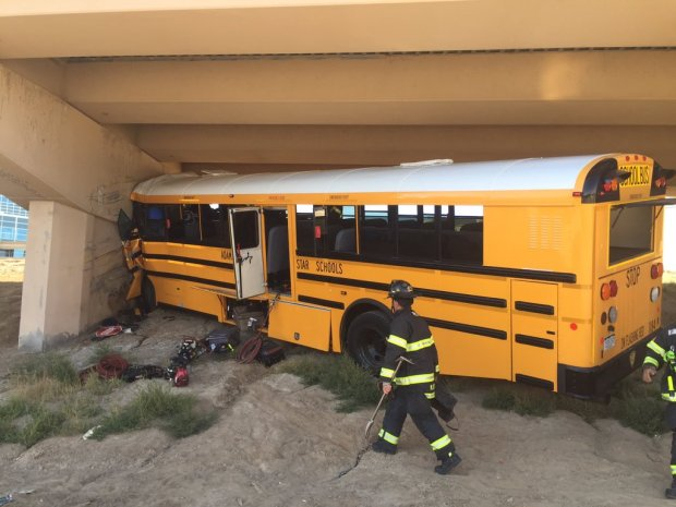 A school bus crashed at Denver International Airport on Sept. 11, 2016.