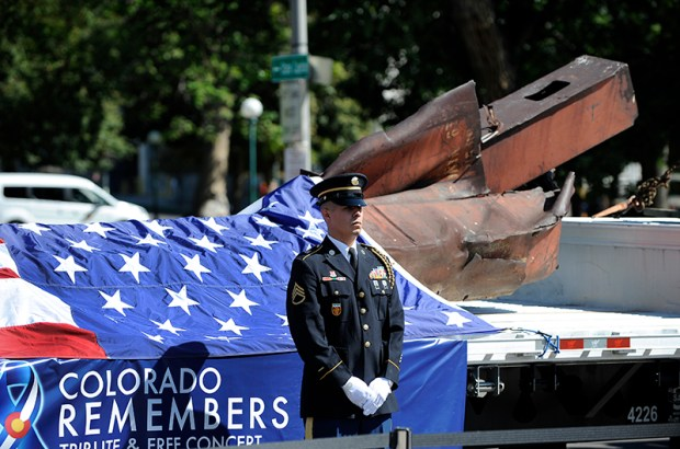 Steel from the World Trade Center is displayed on Sunday during a 9/11 commemoration at Denver's Civic Center.