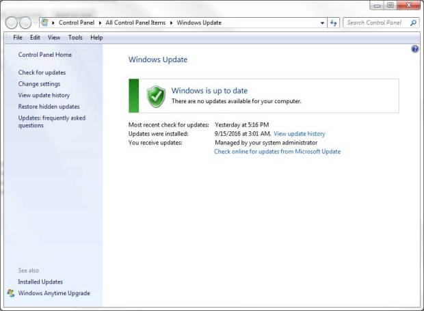 Windows 7 Update window
