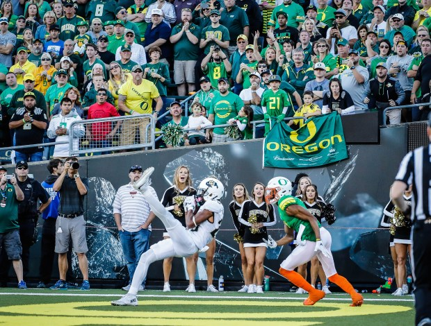 Colorado defensive back Ahkello Witherspoon (23), catches the game winning interception intended for Oregon wide receiver Darren Carrington II (7) during the last moments in an NCAA college football game Saturday, Sept. 24, 2016 in Eugene, Ore.