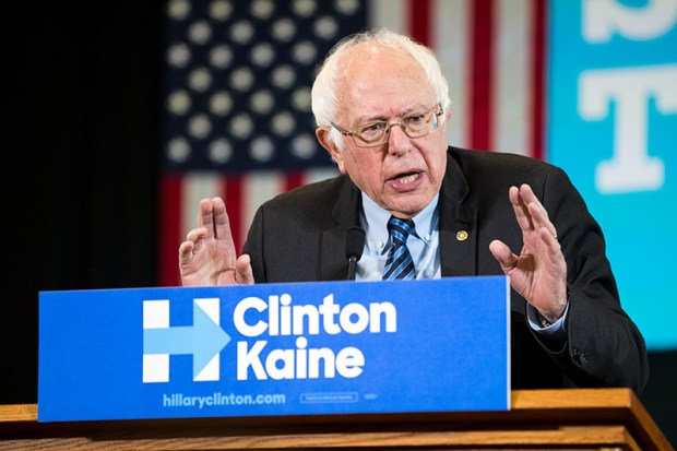 Sen. Bernie Sanders delivers remarks at a campaign rally for Hillary Clinton in Scranton, Pa., on Oct. 8.