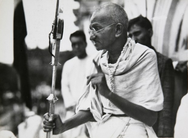 In this file photo dated 1931, Mahatma Gandhi talks to a crowd in India. The Indian independence leader who is considered one of history's great champions of non-violent struggle, Gandhi was nominated for the Nobel Peace Prize five times, but never won the honor.