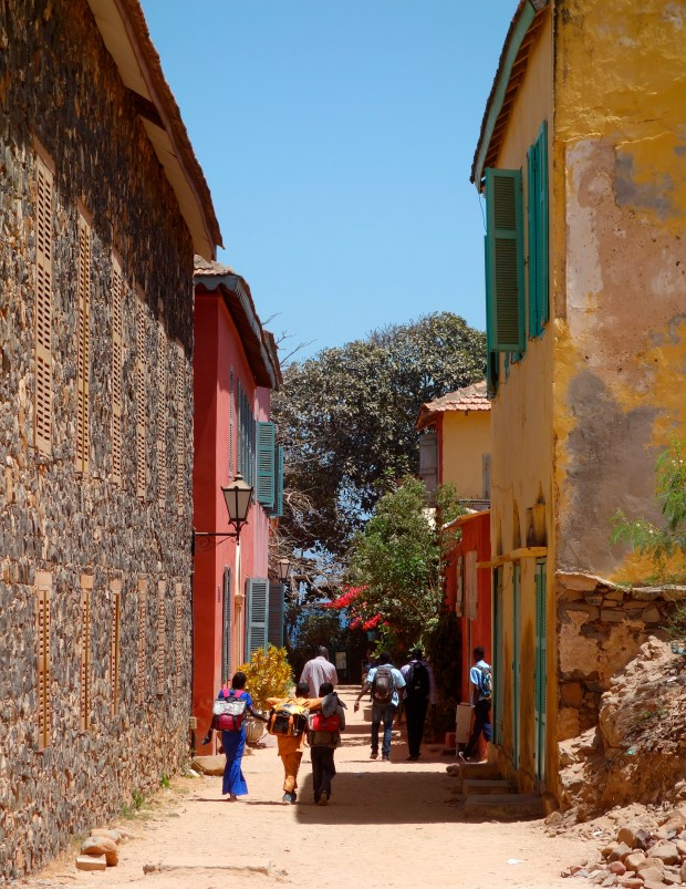 A side street on the Île de Gorée, or Gorée Island, off the coast of Dakar, Senegal.