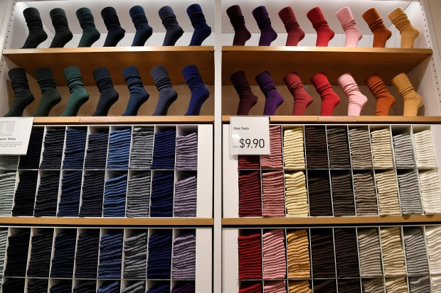 A sock display at Uniqlo on Oct. 27, 2016 in Denver.