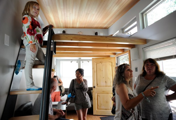 People get to view the inside of several of the tiny hotels. WeeCasa Tiny Home Hotel hosts a tiny home tour in Lyons on Saturday, August 27, 2016.