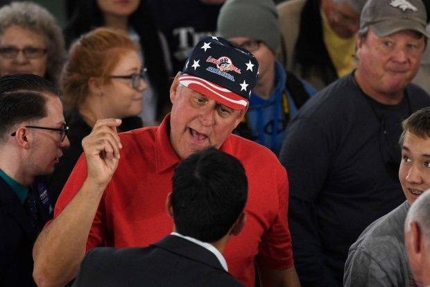 Donald Trump supporter yells at the media.