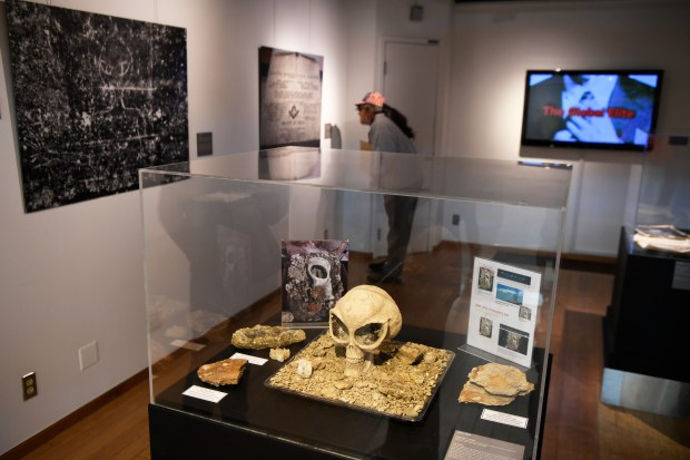 A fake skull on display in the Conspiracy Theories Uncovered gallery at Denver International Airport October 20, 2016. The skull was made by employees and planted during construction of the airport hotel and transportation center.