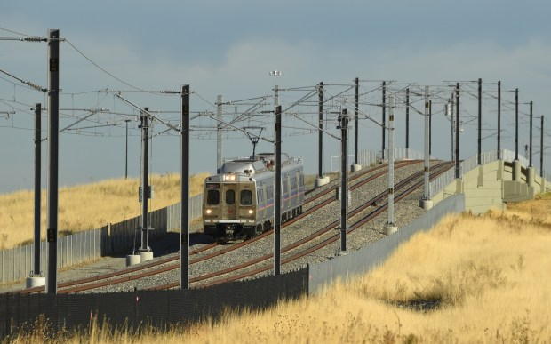 The A-Line train travels between downtown Denver and Denver International Airport, October 11, 2016. A-Line, which opened six months ago, is seeing problems with the use overhead power system.
