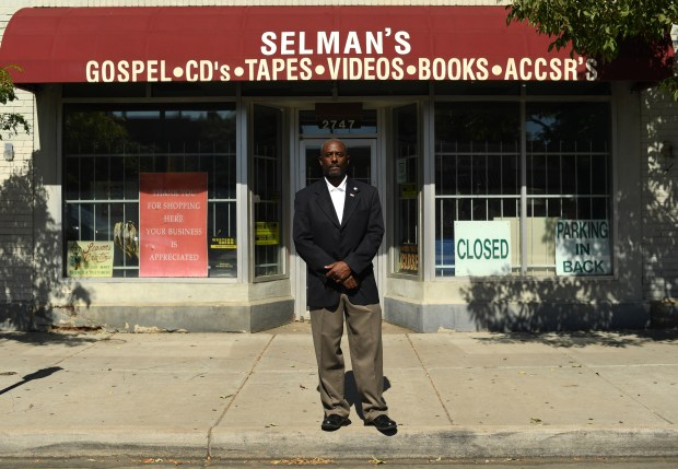 Casper Stockham is pictured outside the Selman's Record Shop in Denver's Five Points neighborhood, which he wants to turn into his congressional office if he is elected.