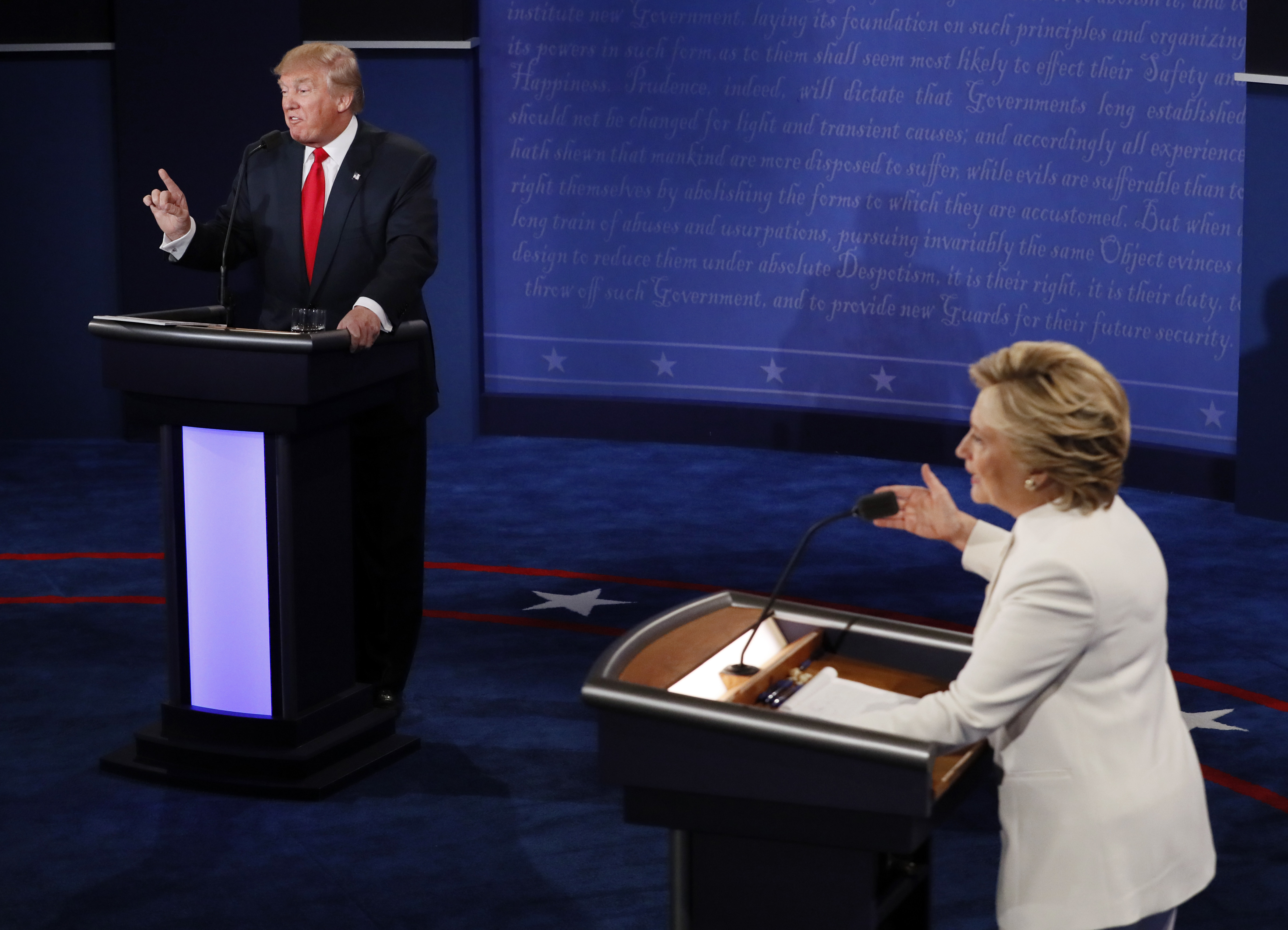 Image result for images of Trump and Clinton debate on Oct. 19