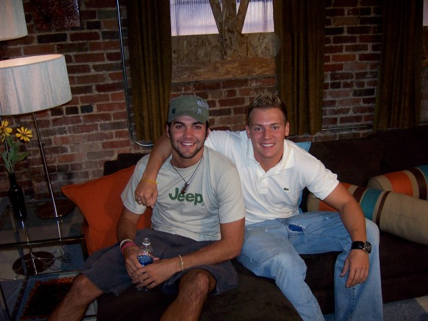 """The Real World: Denver"" cast members Alex Smith, left, and Davis Mallory pose inside the house at 1920 Market St."