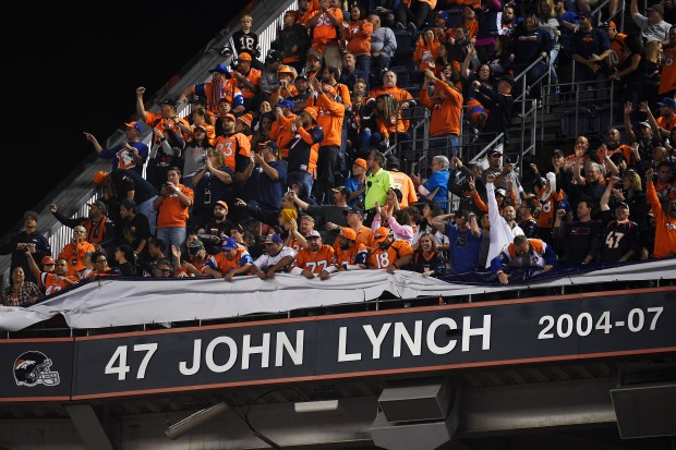 Denver Broncos great John Lynch is introduced to the Ring of Fame at halftime between the Broncos and the Houston Texans on Monday, October 24, 2016. Jason Elam, Simon Fletcher and John Lynch were all inducted. Helen H. Richardson,The Denver Post
