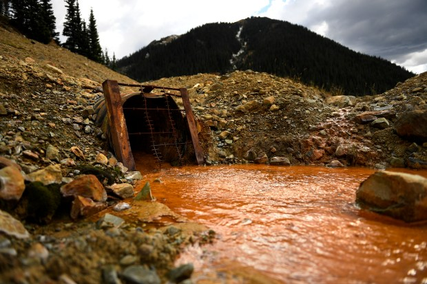 A grate covers the American Tunnel as it's water still flows from mining above Silverton, CO September 27, 2016.