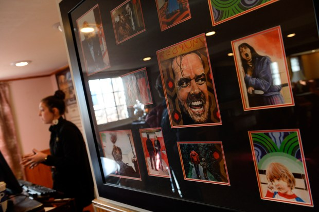 "A display of movie memorabilia from""The Shining"" at the Stanley Hotel on January 12, 2016 in Estes Park."