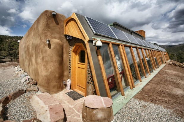 Private Earthship residence in Northern New Mexico. As with all Earthships, this home produces all of its own electricity with photovoltaic panels.