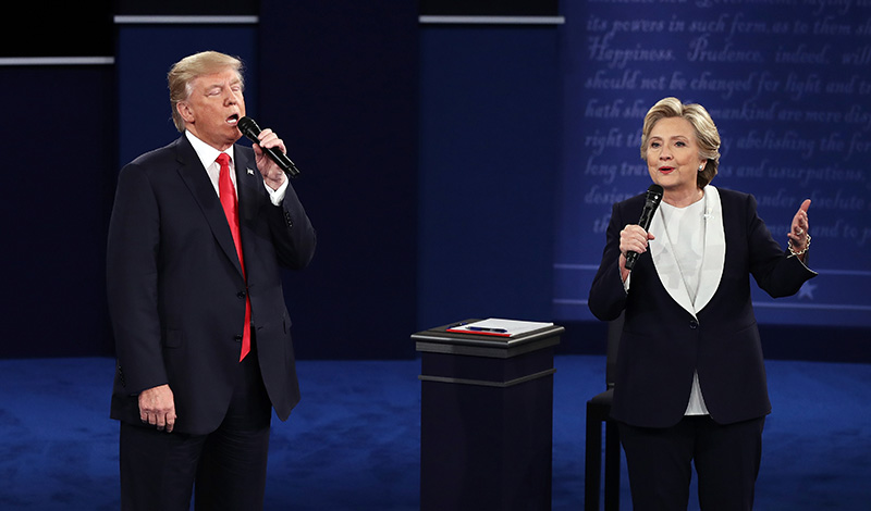 Image result for HILLARY CLINTON AND TRUMP 2ND DEBATE