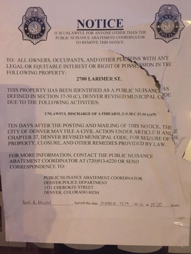 The sign posted on Cold Crush's door.