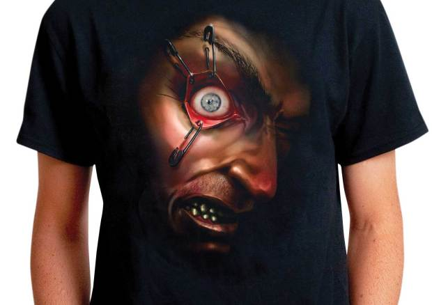 Not just a scary t-shirt but one with a frantically moving eyeball! A strategic slit in the t-shirt leaves an opening perfect for the animated eyeball on a smartphone. The concept is from Digital Dudz and sold at morphsuits.com.