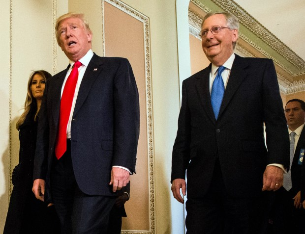 President-elect Donald Trump leaves a meeting with Senate Majority Leader Mitch McConnell at the U.S. Capitol on Thursday.