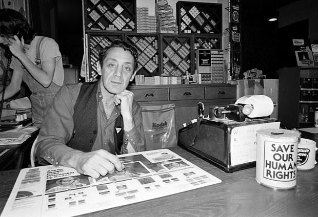 Gay activist and political leader Harvey Milk poses for a photograph at his camera store in San Francisco on June 28, 1977.