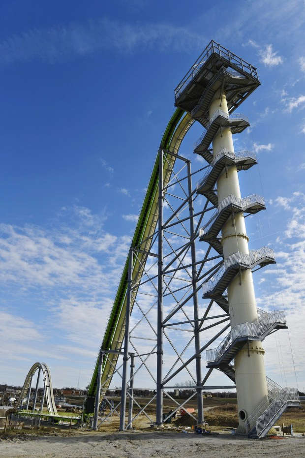 This November 2013 file photo shows Schlitterbahn Waterparks and Resorts new Verruckt waterslide in Kansas City, Kan.