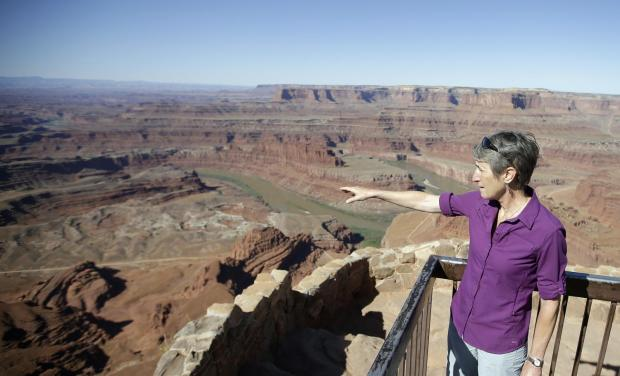 "U.S. Interior Secretary Sally Jewell looks from Dead Horse Point during a tour Thursday, July 14, 2016, near Moab, Utah. Jewell visited the area to meet with proponents and opponents the latest indication the Obama administration is giving serious consideration to the ""Bears Ears"" monument proposal."