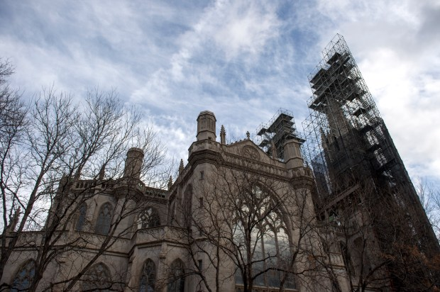 Scaffolding spans the exterior of the Cathedral Basilica of the Immaculate Conception in Denver.