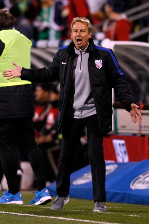 U.S. men's national team coach Jurgen Klinsmann reacts to a call