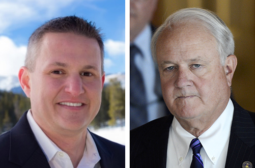Democrat Jake Lilly, left, is challenging Republican District Attorney Pete Weir in Colorado's 1st Judicial District election.