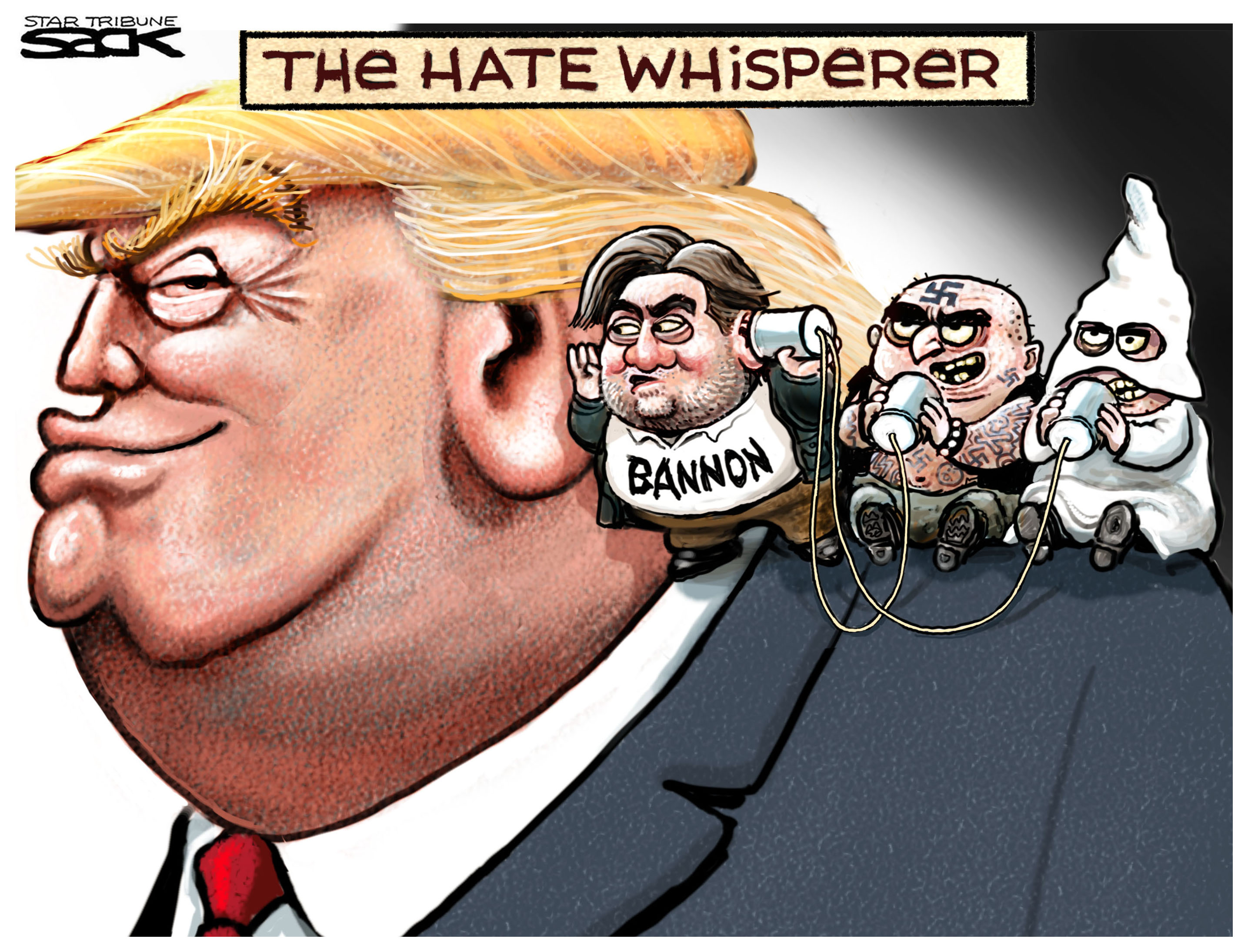 United States President Donald Trump, his adviser Steve Bannon, neonazis and the Ku Klux Klan, cartoon