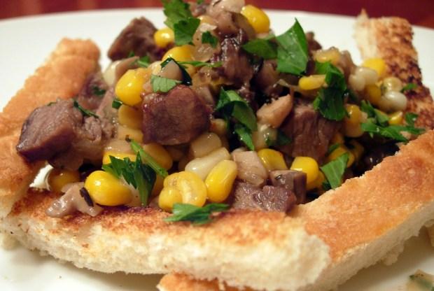 Sweet corn and onion steak hash