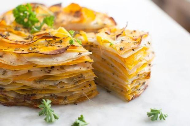 Layered Potato, Onion and Butternut Squash Tart.