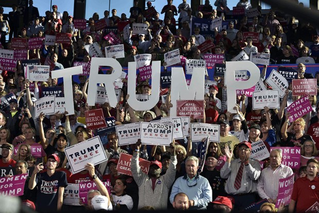 Supporters cheer at a rally for Republican presidential nominee Donald Trump Monday in Raleigh, N.C.