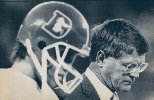 Denver quarterback John Elway and Denver coach Dan Reeves