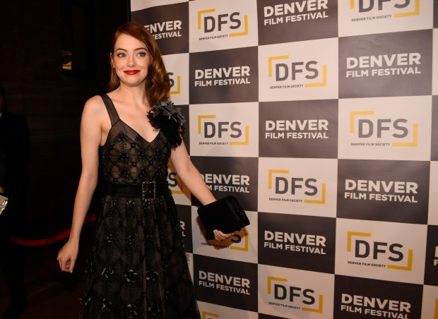 La La Land actress Emma Stone walks the Red carpet on opening night of the Denver Film Festival November 2, 2016 at the Ellie Caulkins Opera House.