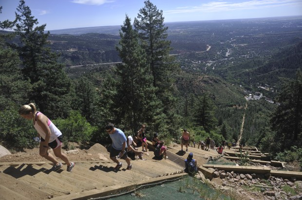 The popular Manitou Incline Trail features about 2,000 steps and around 2,000 feet of elevation gain over just one mile at the foot of Pikes Peak.