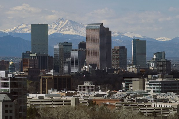 The skyline of Denver as seen from South Colorado Boulevard on April 4. Colorado added 100,986 people to its population between 2014 and 2015, making it the second-fastest growing state in the U.S., according to recent population estimates from the U.S. Census Bureau.