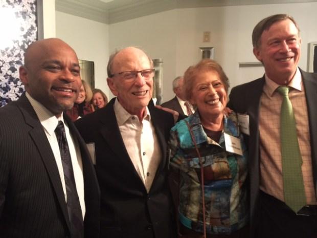 From left, Denver Mayor Michael Hancock, Sheldon Steinhauser, Jan Steinhauser and Gov. John Hickenlooper.