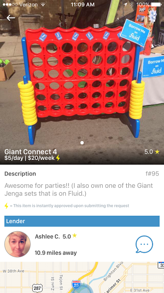 Giant Connect 4's and other items most consumers don't have lying around the house can be rented for a fee using the community-sharing app Fluid. Got one to loan? Set your own price but be reasonable and stay smart when meeting with strangers.