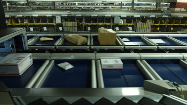 packages at US postal service sorting center