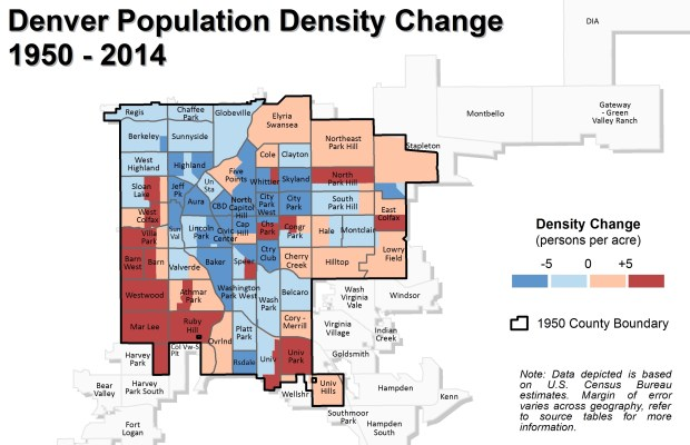 A comparison created by a Denver Community Planning and Development researcher using census data and estimates shows population density changes within the city's 1950 boundaries from that year to 2014.