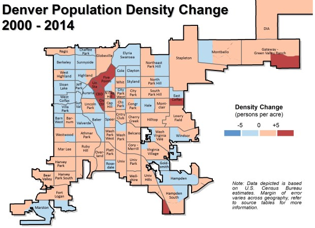 A comparison created by a Denver Community Planning and Development researcher using census data and estimates shows changes in population density between 2000 and 2014.