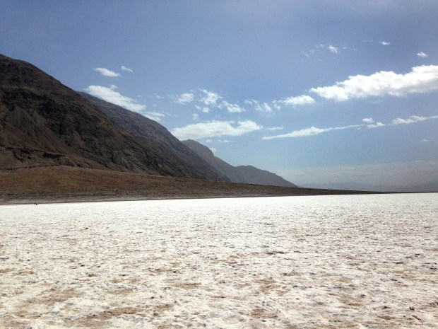 A view across the salt flats in Badwater Basin, California.