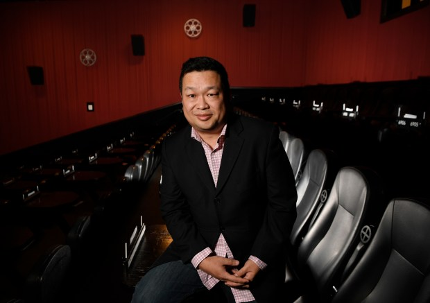 Alamo Drafthouse VP of Operations Walter Chaw poses for a portrait in one of his Littleton theaters earlier this month.
