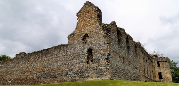 The ruins of Balvenie Castle in Scotland's Speyside region. The original stone castle was built in the 13th century. The Glenfiddich and Balvenie distilleries are nearby.