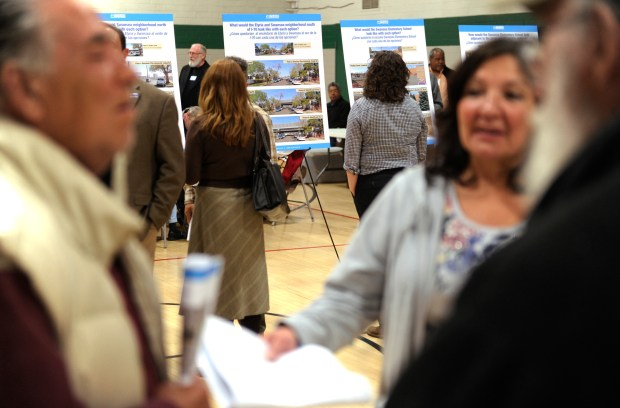 The public was invited to view the current Colorado Department of Transportation plans to widen Interstate 70 through the Swansea neighborhood in north Denver Thursday night, April 11, 2013 at the Swansea Recreation Center.