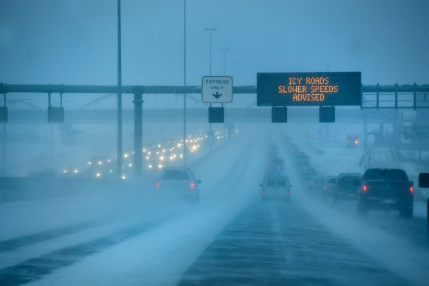 A winter storm descending on the metro area made for tricky driving conditions along westbound Highway 36 near Broomfield on January 4, 2017 in Broomfield, Colorado. Up to 2 feet of snow is forecast for the mountains and many inches in the metro area. Helen H. Richardson, The Denver Post
