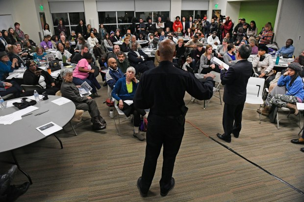 Denver police chief Robert White addresses members of the public during a meeting held by the Denver Police Department at the Boys & Girls Clubs of Metro Denver on Jan. 24, 2017 in Denver.