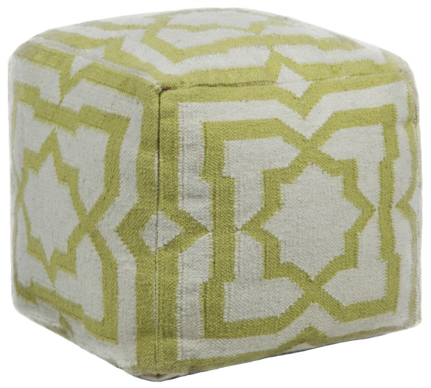 The Hand-Knitted Pouf by Chandra mixes green and cream, making the pattern lively yet serene ($164, burkedecor.com).