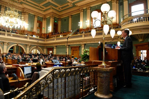 Colorado governor John Hickenlooper delivers the State of the State address from the Colorado State Capitol in Denver on Jan. 12, 2017.